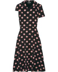 Junya Watanabe - Layered Floral-print Crepe De Chine And Cotton Dress - Lyst