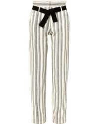 Vanessa Bruno - Iwen Belted Striped Cotton-canvas Straight-leg Trousers - Lyst