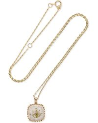 Pascale Monvoisin - Blossom N°2 9-karat Gold, Cotton, Glass And Diamond Necklace - Lyst