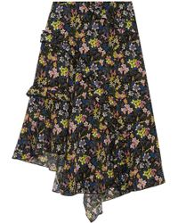 Topshop Unique - Aster Ruffled Printed Silk Crepe De Chine Skirt - Lyst