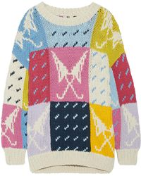 Topshop Unique - Lindbergh Oversized Intarsia Cotton Sweater - Lyst