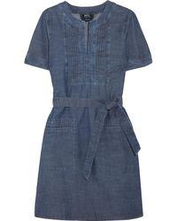 A.P.C. - Jess Pintucked Cotton-chambray Dress - Lyst