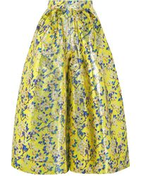 Delpozo - Metallic Floral-brocade Wide-leg Pants - Lyst