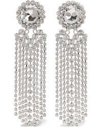 Alessandra Rich | Fringed Silver-plated Swarovski Crystal Clip Earrings | Lyst