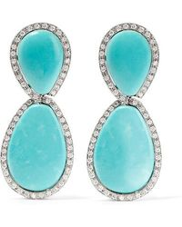 Fred Leighton - 1960s Platinum, Turquoise And Diamond Clip Earrings - Lyst