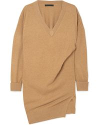 Alexander Wang | Oversized Gathered Knitted Mini Dress | Lyst