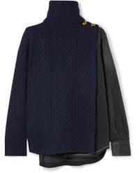 Sacai - Cable-knit Wool And Denim Turtleneck Jumper - Lyst