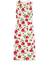 Michael Kors - Floral-print Stretch-cady Dress - Lyst