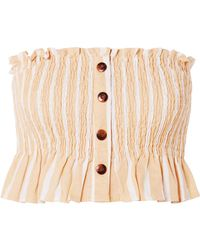 Faithfull The Brand - Sloan Shirred Striped Linen Top - Lyst