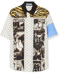 Prada - Printed Cotton-poplin Shirt - Lyst