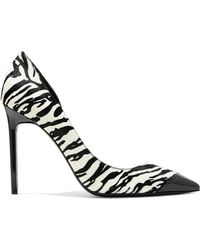 Saint Laurent - Anja Patent-leather And Zebra-print Calf Hair Court Shoes - Lyst