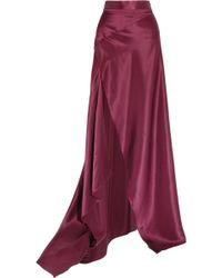 Michael Lo Sordo - Empress Asymmetric Silk-satin Maxi Skirt - Lyst