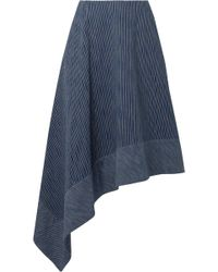 Adam Lippes | Asymmetric Striped Cotton Midi Skirt | Lyst