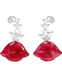 Amrapali - 18-karat White Gold, Ruby And Diamond Earrings - Lyst