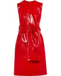 MSGM - Knotted Faux Glossed-leather Dress - Lyst