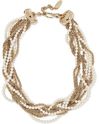 Lanvin - Gold-plated Faux Pearl Necklace - Lyst
