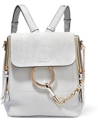 Chloé - Faye Large Textured-leather And Suede Backpack - Lyst