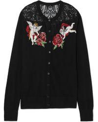 Dolce & Gabbana - Lace-paneled Intarsia Wool-blend Cardigan - Lyst