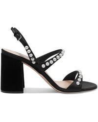 Miu Miu - Embellished Suede Slingback Sandals - Lyst