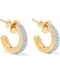 Monica Vinader - Fiji Mini Gold Vermeil Diamond Hoop Earrings - Lyst
