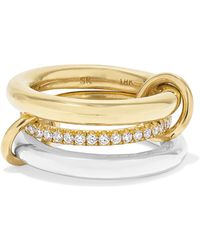 Spinelli Kilcollin - Set Of Three 18-karat Gold, Sterling Silver And Diamond Rings Gold 7 - Lyst