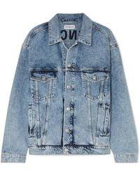 a269fd4390c695 Balenciaga - Oversized Embroidered Denim Jacket - Lyst