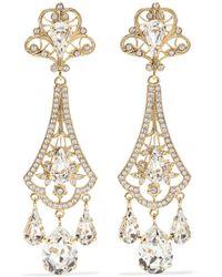 Dolce   Gabbana - Gold-tone Crystal Clip Earrings - Lyst 7a0f1801b6f