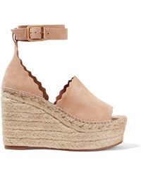 Chloé - Scalloped Suede Espadrille Wedge Sandals - Lyst