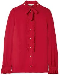 Gucci - Embellished Ruffled Silk Crepe De Chine Blouse - Lyst