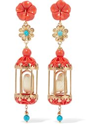 Of Rare Origin - Aviary Classic Earrings - Coral & White - Lyst
