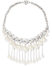 Miu Miu - Silver-tone Faux Pearl And Crystal Necklace - Lyst