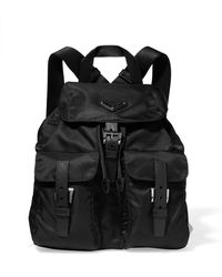 Prada - Vela Small Textured-leather Trimmed Shell Backpack - Lyst