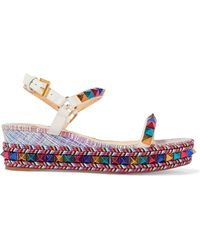 Christian Louboutin - Pyraclou 60 Spiked Metallic Textured-leather Wedge Sandals - Lyst