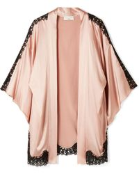 Fleur du Mal - Chantilly Lace-trimmed Silk-blend Charmeuse Robe - Lyst