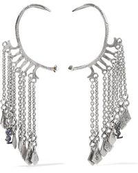 Saint Laurent - Silver-tone Enamel Ear Cuffs - Lyst
