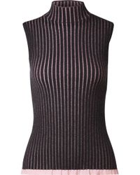 56002fc3d1a0d6 Burberry - Striped Ribbed Cashmere And Silk-blend Turtleneck Top - Lyst
