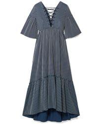 La Ligne - La Bohème Lace-up Striped Cotton-blend Maxi Dress - Lyst