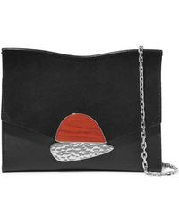 Curl Small Embellished Textured-leather And Suede Shoulder Bag - Black Proenza Schouler rjwco