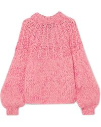 Ganni - Julliard Bow-embellished Mohair And Wool-blend Jumper - Lyst