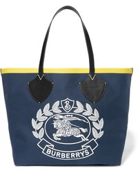 Burberry - Leather-trimmed Embroidered Cotton-canvas Tote - Lyst