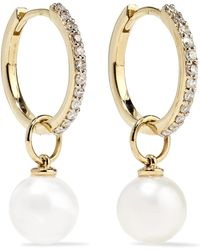 Mateo - 14-karat Gold, Diamond And Pearl Hoop Earrings - Lyst