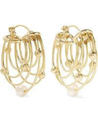 Ellery - Classical Scaffolding Gold-plated Pearl Hoop Earrings - Lyst