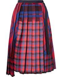 Sacai - Pleated Checked Satin And Cotton-canvas Wrap Skirt - Lyst