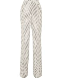 Etro - Printed Silk Crepe De Chine Wide-leg Trousers - Lyst