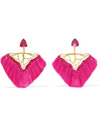 Katerina Makriyianni - Fringed Gold Vermeil, Quartz And Faux Ruby Earrings - Lyst