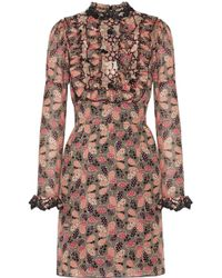 Anna Sui - Ruffled Printed Cotton And Silk-blend Mini Dress - Lyst
