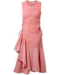 ADEAM - Asymmetric Lace-up Wool-blend Midi Dress - Lyst