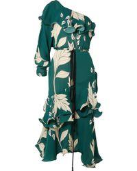 Johanna Ortiz - Jade One-shoulder Ruffled Floral-print Silk Midi Dress - Lyst