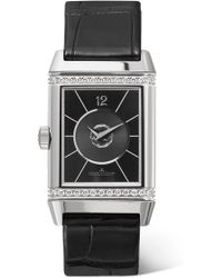 Jaeger-lecoultre - Reverso Classic Duetto 24.4mm Medium Stainless Steel, Alligator And Diamond Watch - Lyst