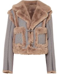 Opening Ceremony - Insomniac Reversible Faux Fur And Houndstooth Cotton-blend Jacket - Lyst